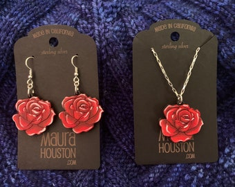 Red Rose Earring and Necklace Set