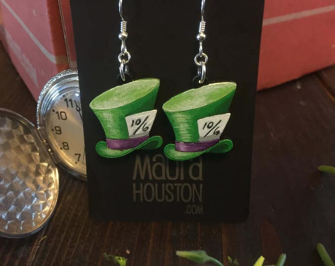 Mad Hatter Earrings that are laser cut and hand painted to give the illusion of 3D // gifts for her