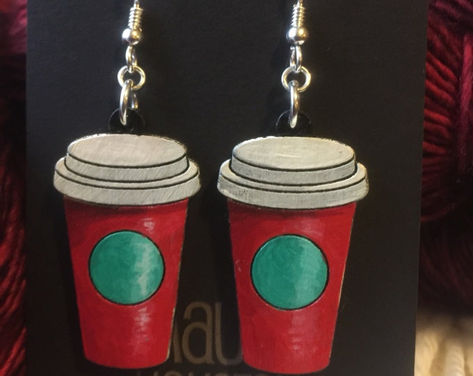 Coffee Cup Earrings that lasercut and hand painted to give the illusion of 3D // gifts for her // gifts for coffee lovers