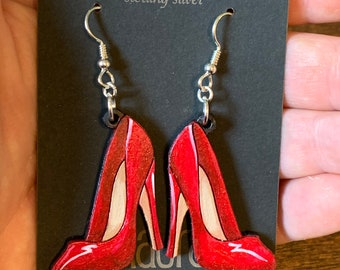 High heeled Stiletto Earrings hand painting to give the illusion of 3D // gifts for her