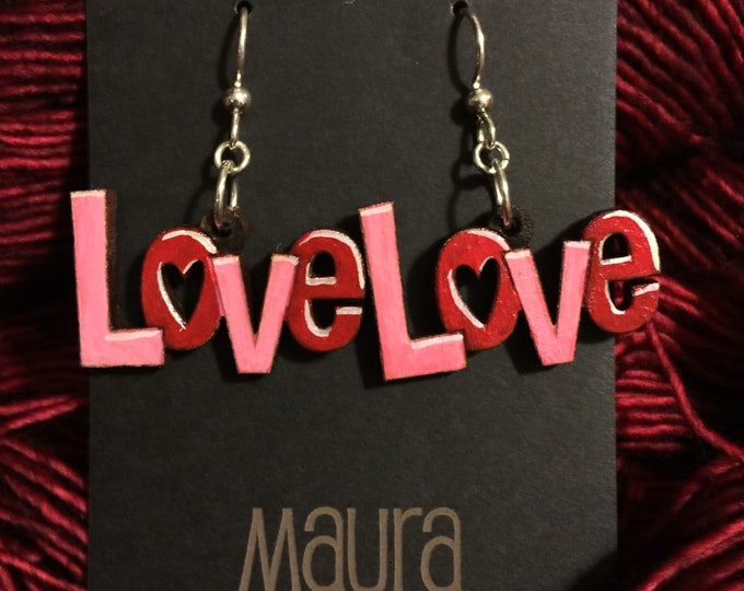 Hand painted love earrings that are laser cut and hand painted // Gifts for her