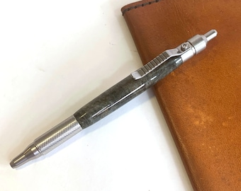 Hand Turned Anvil EDC Click Style Stainless Steel Pen with Stabilized Wood barrel