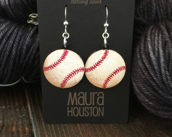 Baseball Earrings that are laser cut and hand painted to give the illusion of 3D // gifts for her