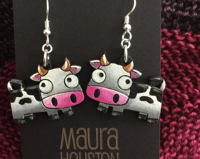 Cow Earrings that are laser cut and hand painted to give the illusion of 3D // gifts for her // gifts for animal lovers