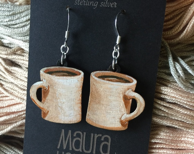 Coffee Mug Earrings that are laser cut and hand painted to give the illusion of 3D // gifts for her // gifts for coffee lovers