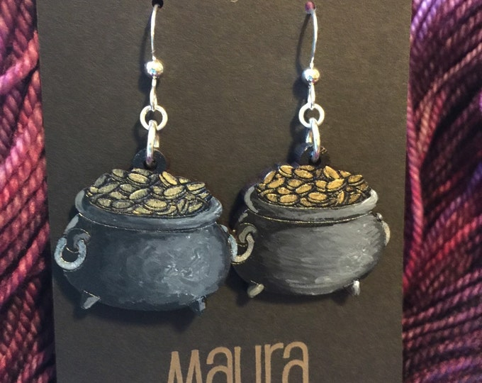 Hand Painted Pot o' Gold Earrings