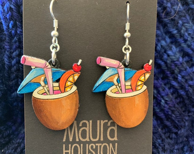 Coconut Drink Earrings that are laser cut and hand painted to give the illusion of 3D // gifts for her
