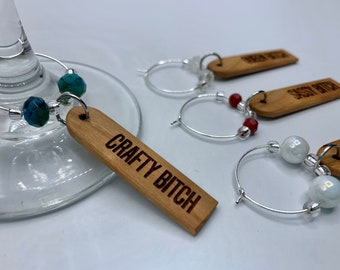 Sassy wooden wine glass charms