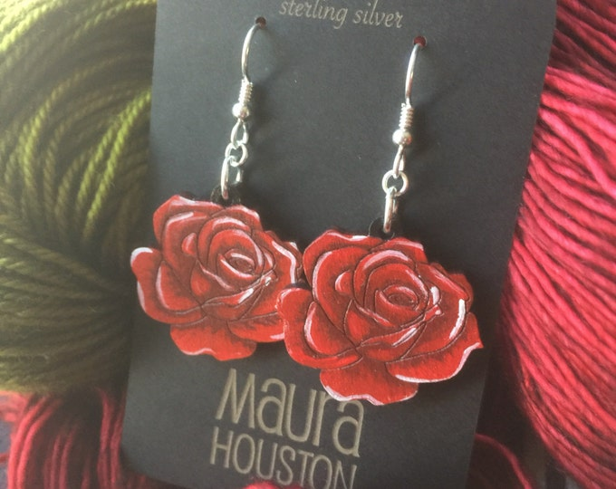 Red Rose Earrings that are laser cut and hand painted to give the illusion of 3D // gifts for her // gifts for gardeners