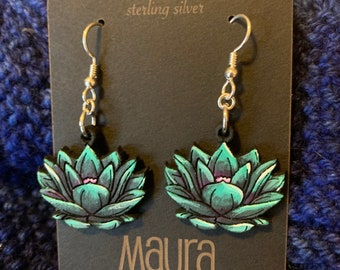 Black Lotus Flower Earrings