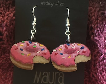 Doughnut Earrings that are laser cut and hand painted to give the illusion of 3D // gifts for her // gifts for donut lovers