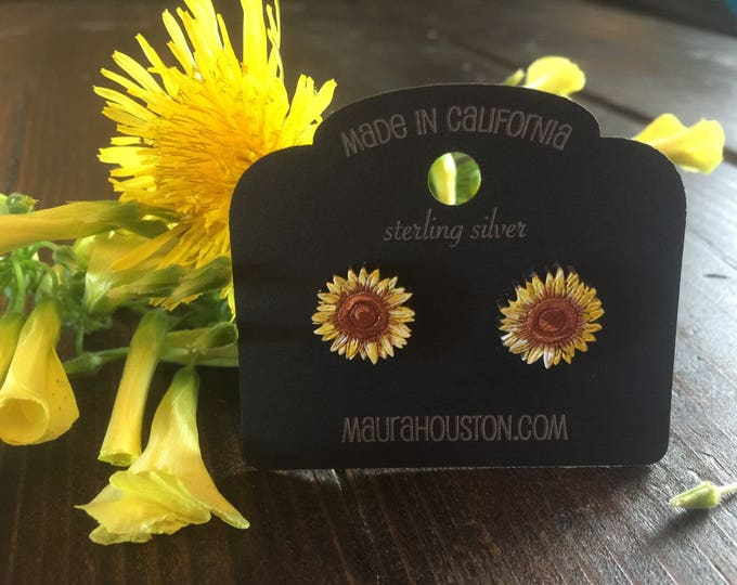 Sunflower Stud Earrings that are laser cut and hand painted to give the illusion of 3D // gifts for her // gifts for the garderner