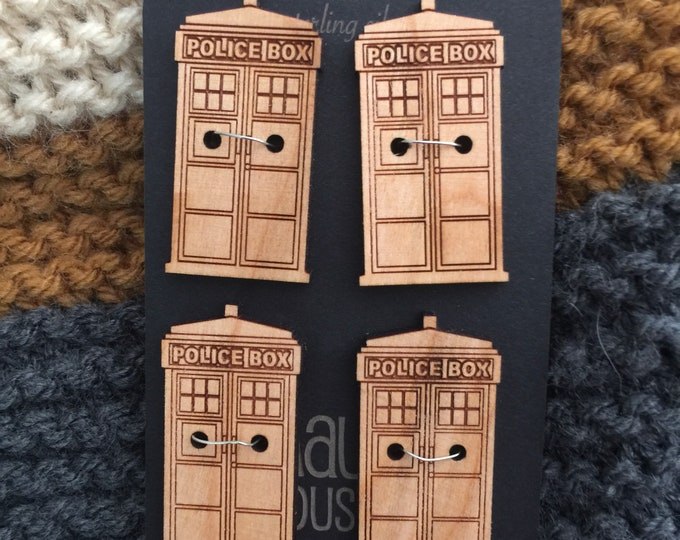 "Set of 4, 1.5"" Tardis buttons that are laser cut out of solid cherry that will beautifully darken over time // gifts for whovians // dr. who"