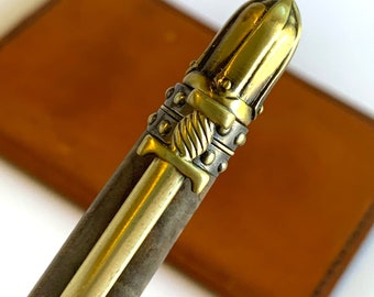 Hand Turned Knight's Armor Twist Style Pen with Stabilized Wood barrel