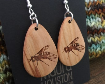 Wooden Fly Earrings