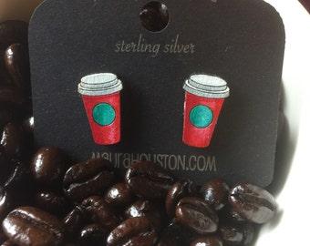 Travel coffee Cup Stud Earrings
