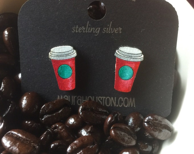 Travel coffee cup stud earrings that are laser cut and hand painted to gift the illusion of 3D // gifts for her // halloween
