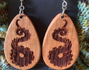 Wooden Octopus Tentacle Earrings