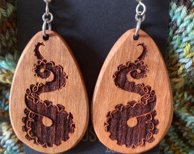 Wooden Octopus Tentacle Earrings