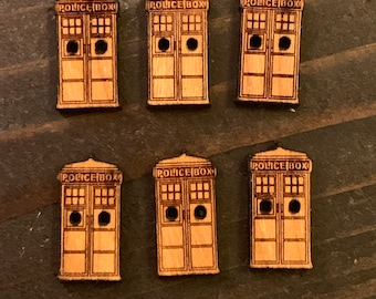 "Set of 6 small .75"" Tardis Buttons"