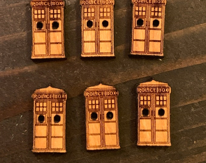 "Set of 6 small .75"" Tardis buttons that are laser cut out of solid cherry that will beautifully darken over time // dr. who"