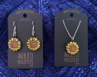 Sunflower earrings and necklace set
