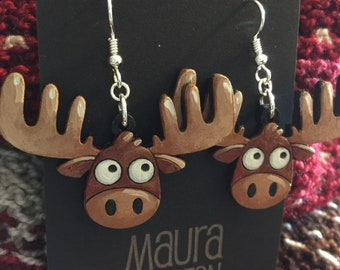 Large Moose Earrings