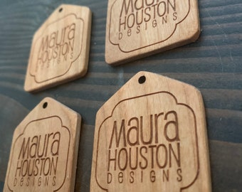 Set of 4 tags with your logo that are sanded and sealed