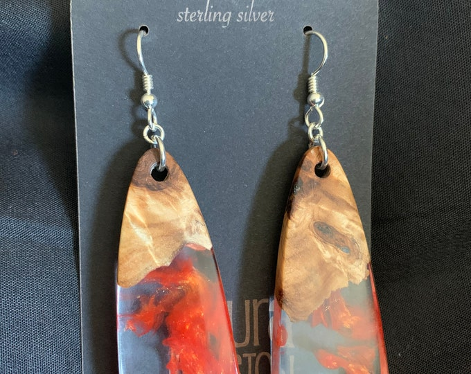 Hancrafted Resin and Burl Wood Earrings