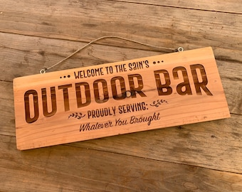Custom Outdoor Bar Sign // Good for long or short names // gifts for her // gifts for him