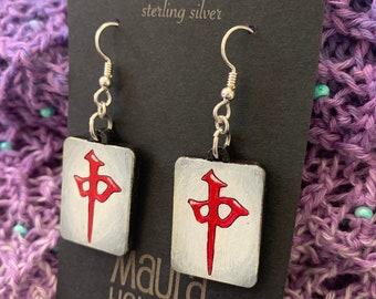 Red Dragon Mahjong Tile Earrings