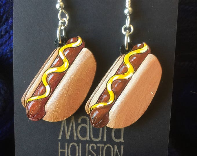 Hot Dog Earrings that are laser cut and hand painted to give the illusion of 3D // gifts for her // gifts for tailgaters