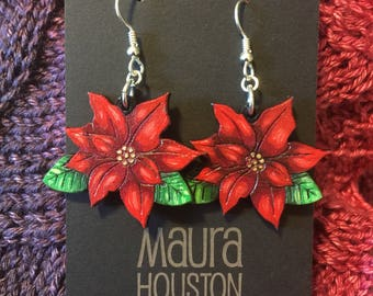 Poinsettia Earrings that are laser cut and hand painted to give the illusion of 3D // gifts for her // Christmas