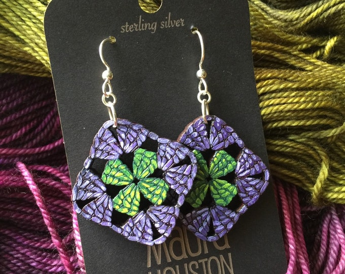 Granny Square Earrings that are laser cut and hand painted to give the illusion of 3D // gifts for her // gifts for the crocheters