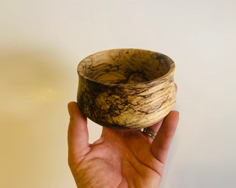Small spalted hackberry bowl with blue dyed highlight