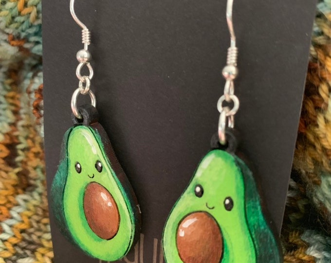 Happy Avocado Earrings that are laser cut and hand painted to give the illusion of 3D // gifts for her