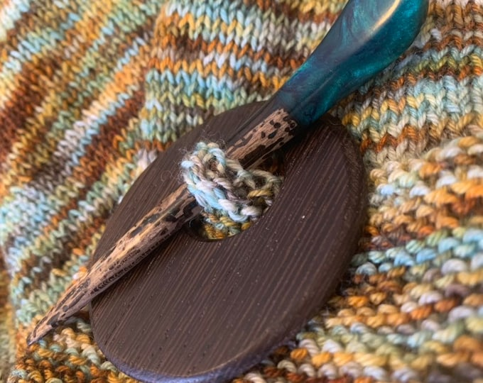 Hand carved shawl pin for knitting or crochet