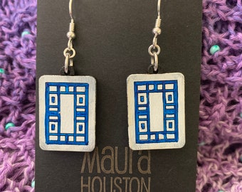 White Dragon Mahjong Tile Earrings