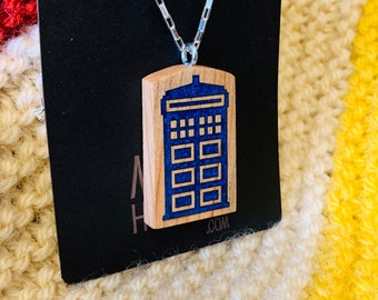 Tardis necklace made from resin inlayed cherry wood