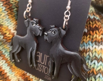 Black Great Dane Earrings (Large) that are laser cut and hand painted to give the illusion of 3D // gifts for her // dog moms