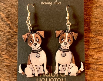 Dog Earrings hand painted to give the illusion of 3D // gifts for her // gifts for dog lovers