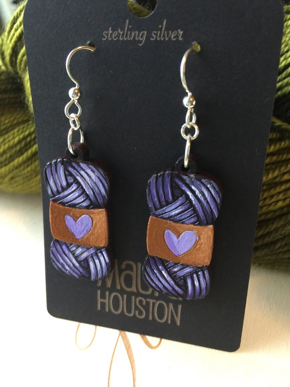 Skein of Yarn Earrings that are laser cut and hand painted to gift the illusion of 3D // gifts for her // yarn lovers