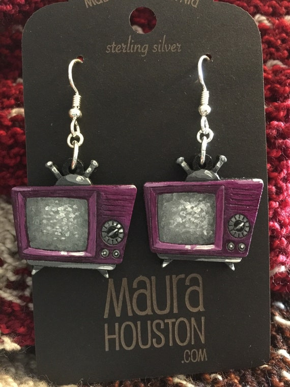 Television Earrings that are laser cut and hand painted to give the illusion of 3D // gifts for her