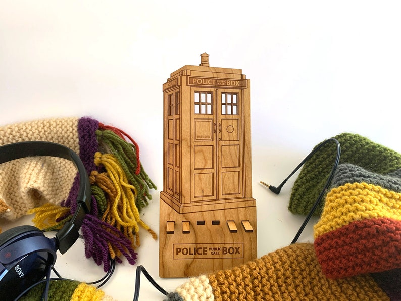 Tardis Laser Cut Wooden Smart Phone Stand