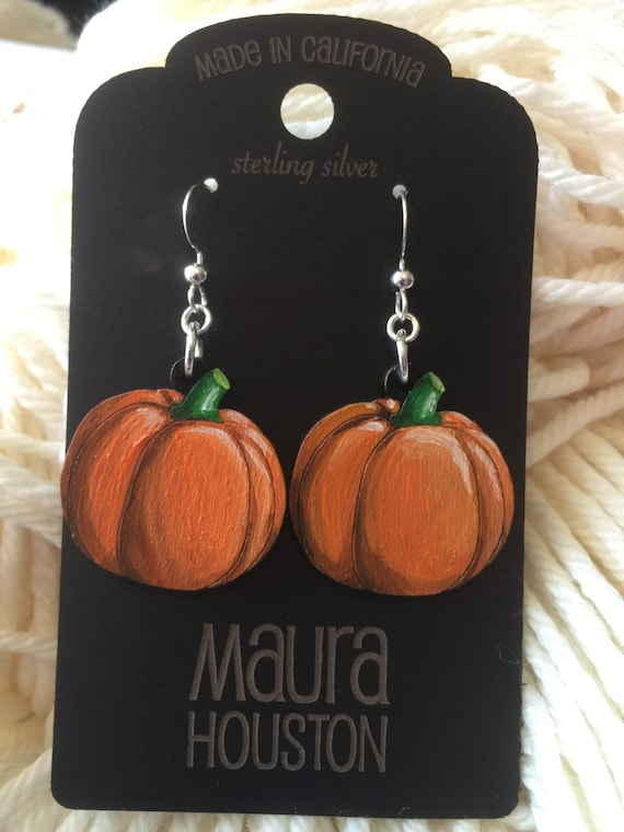 Pumpkin Earrings that are laser cut and hand painted to gift the illusion of 3D // gifts for her // Fall