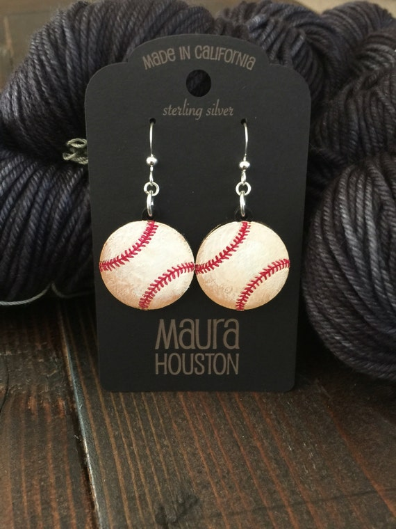 Baseball Earrings that are laser cut and hand painted to gift the illusion of 3D // gifts for her