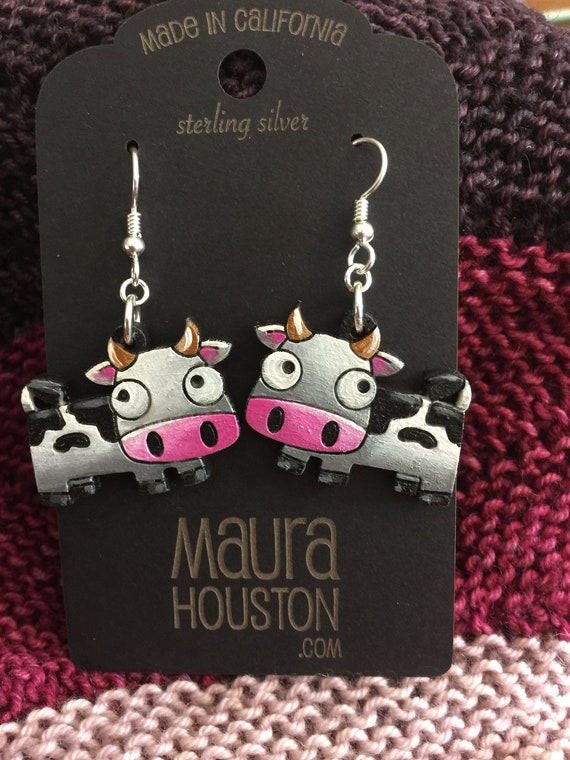 Cow Earrings that are laser cut and hand painted to gift the illusion of 3D // gifts for her // gifts for animal lovers