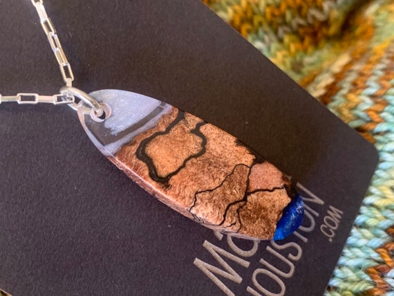 One of a kind Hybrid resin and burl wood pendant necklace