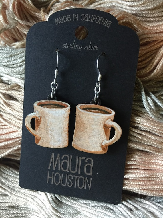 Coffee Mug Earrings that are laser cut and hand painted to gift the illusion of 3D // gifts for her // gifts for coffee lovers