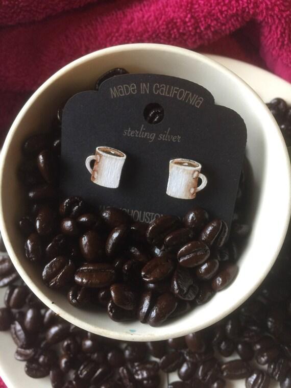 Coffee mug stud earrings